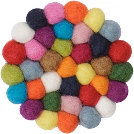 myfelt Lotte, round and colourful Glass Coaster, Ø 9 cm
