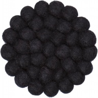myfelt Nero round, black Glass Coaster, Ø 9 cm